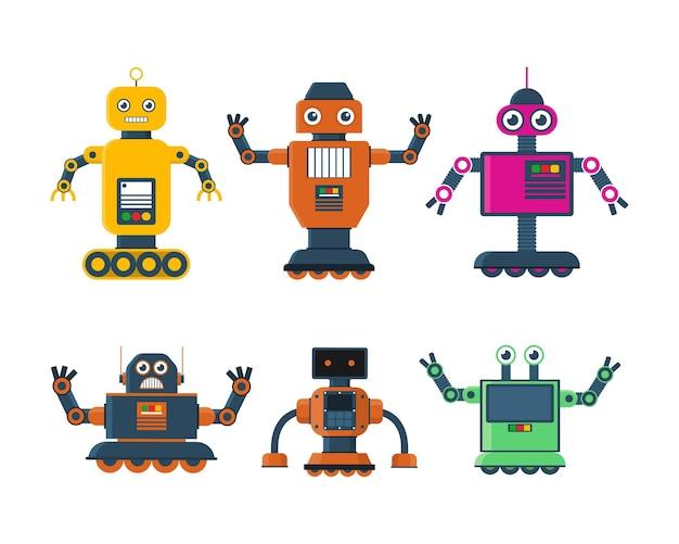 Set of robot toys in various model robot wheel