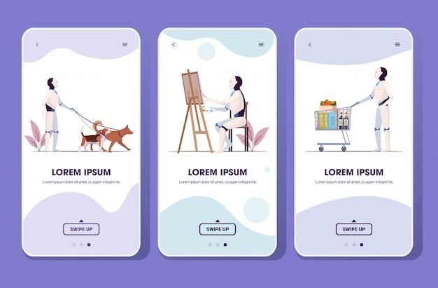 トロリーカートを押す犬の図面と一緒に歩くロボットを設定します。人工知能技術コンセプトスマートフォン画面コレクションモバイルアプリ全長コピースペース水平