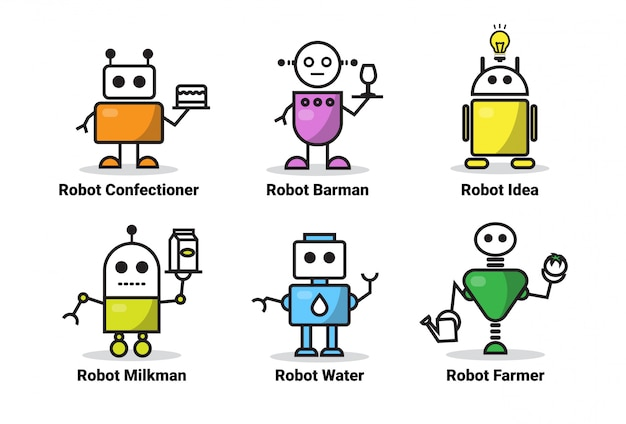 Set of robots of different occupations icon