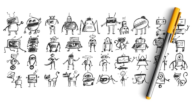 Set of robots doodle isolated on white