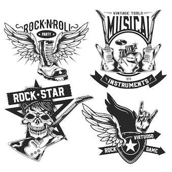Set of rock elements (skull, boot, drums, wings, guitar, picks) emblems, labels, badges, logos.