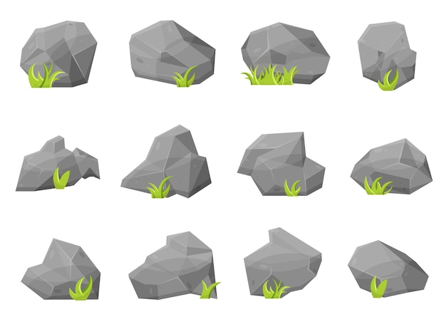 Set of rock stones and boulders in cartoon style