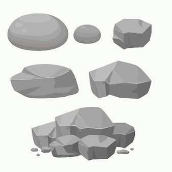 Set of rock stones with different shapes