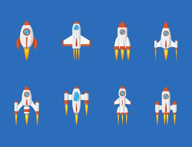Set of rocket icons,