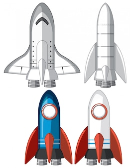 Set of rocket ships