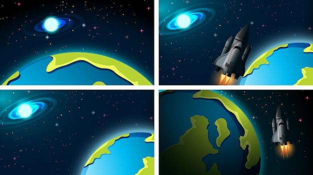 Set of rocket and space scene or backgrounds