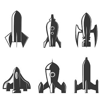 Set of the rockets icons.