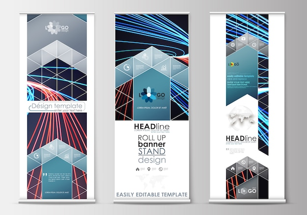 Set of roll up banner stands, flat templates, geometric style