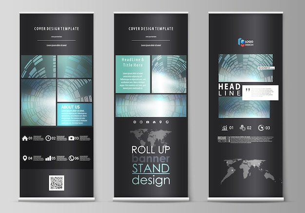 Set of roll up banner stands