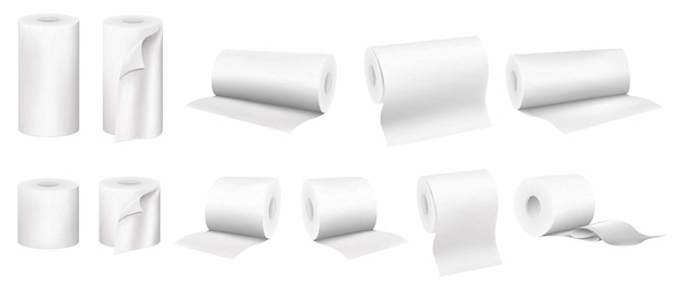 Set of rolled paper towels and toilet paper, vector 3d realistic set isolated on white background