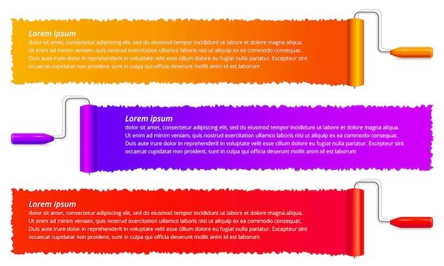 Set di spazzole a rullo con vernice a strisce