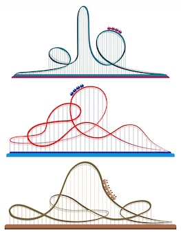 Set of roller coasters. illustrations in cartoon style isolated on white background.