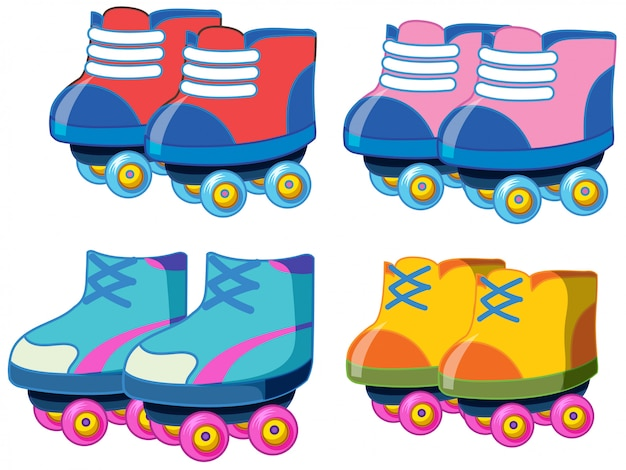 Set of roller skate shoes