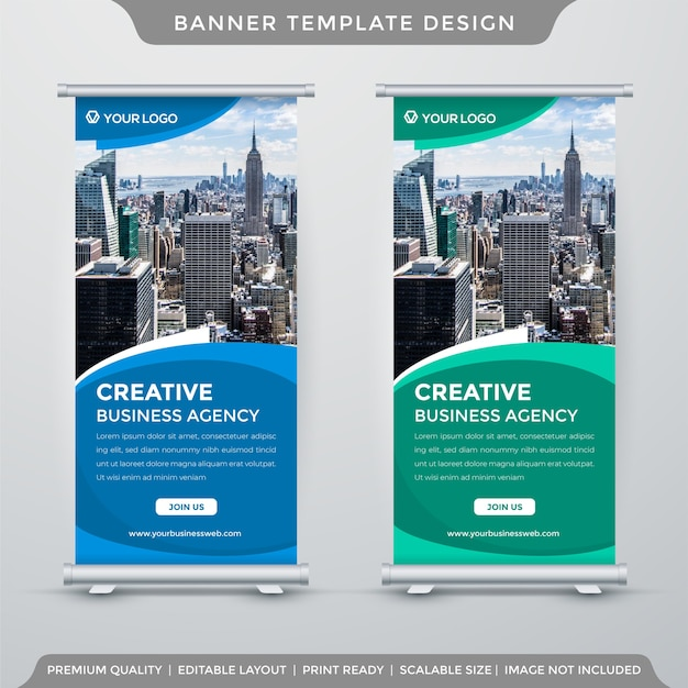Set of rollup or x-banner template in corporate style