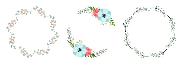 Set of romantic botanical wreaths isolated on white. floral frames.