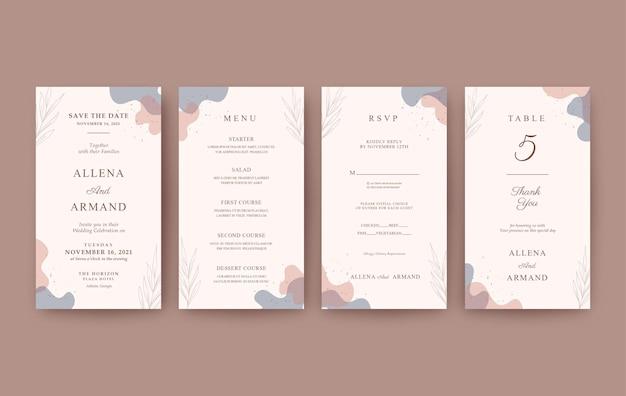 Set of romantic and elegant vertical wedding invitation for mobile