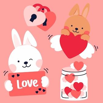 Insieme di elementi romantici e conigli per san valentino