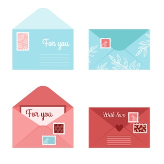 Set romantic envelope letter and postcards. isolated open envelopes with stamps and seals