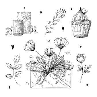Set of romantic hand drawn elements. different hearts, flowers and other different elements. hand-drawn sketch vector illustration.