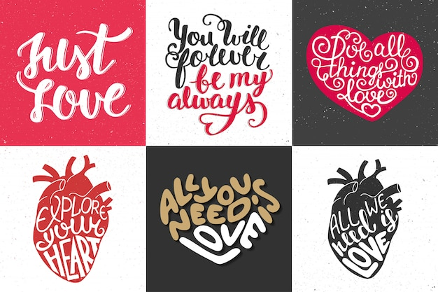 Set of romantic  hand drawn typography