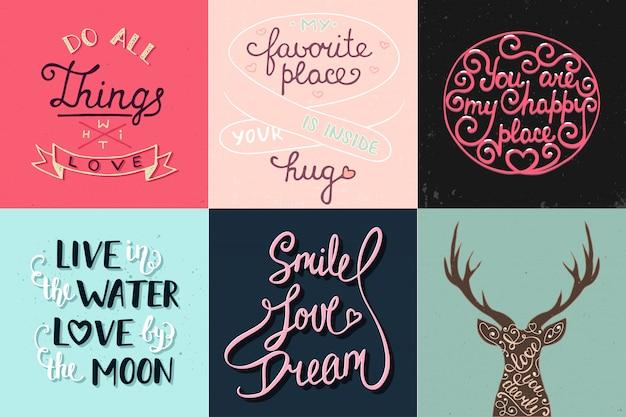 Set of romantic hand drawn unique typography