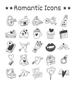 Set of romantic icons in doodle style
