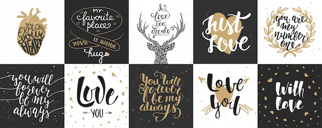 Set of romantic and love hand drawn lettering