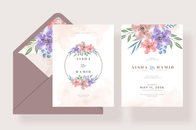 Set of romantic watercolor floral wedding card invitation with envelope template design