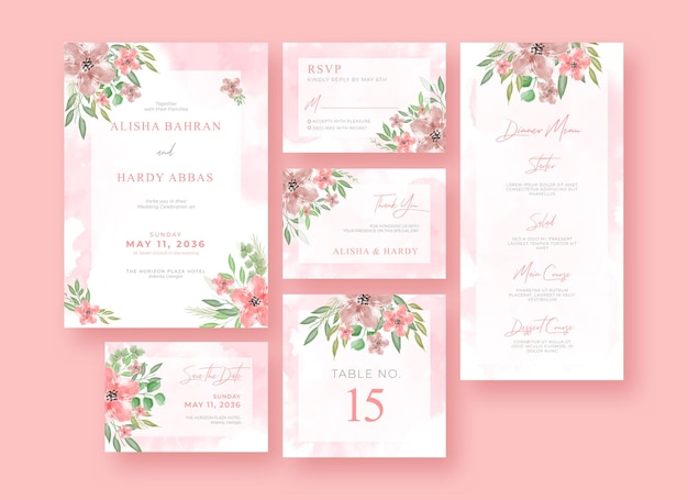 Set of romantic watercolor wedding stationery template