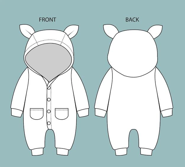 赤ちゃんの正面図と背面図のロンパースを設定します