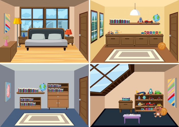 A set of room interior background