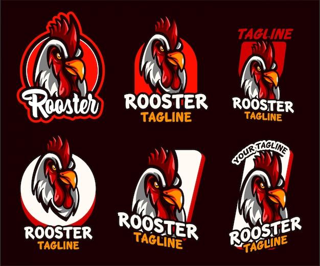 Set rooster logo illustration