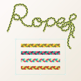 Set of rope braid different color with typography design
