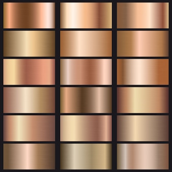 Set of rose gold gradients texture.
