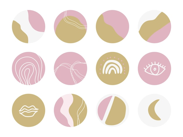 Set of round backgrounds for social media stories. abstract vector highlight covers. vector illustration for girly blog.