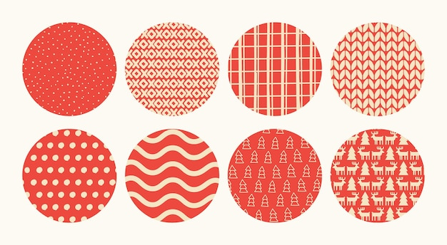 Set of round backgrounds with winter and christmas textures