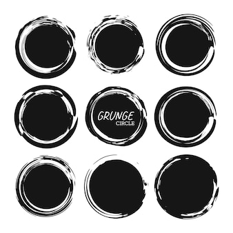 Set of round button hand drawn grunge black circle graphic design element for cards