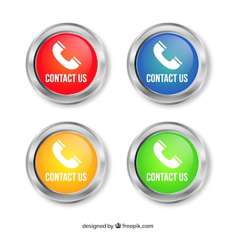 Set of round buttons with phone
