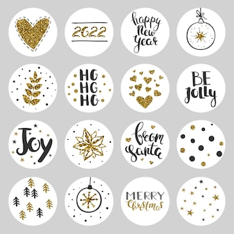Set of round christmas stickers vector decorative stickers for christmas and new year 2022