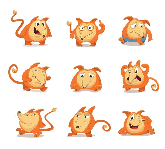 Set of round, cute mascot characters with long nose, reminiscent of a red fox or dog. various poses and facial expressions (astonished, angry, furious, happy, smiling, irritated) isolated.