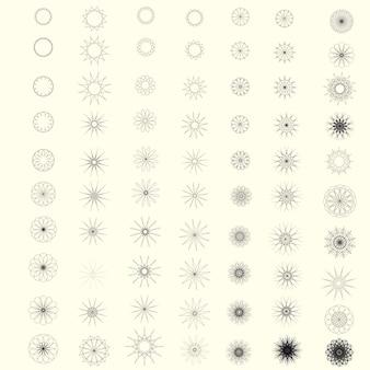 Set of round geometric ornaments