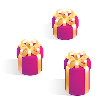 Set of round gift boxes. isometric vector icons isolated