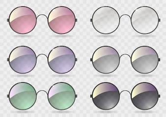 別のガラスと丸いメガネを設定します