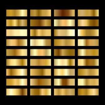Set of round gold gradients buttons.