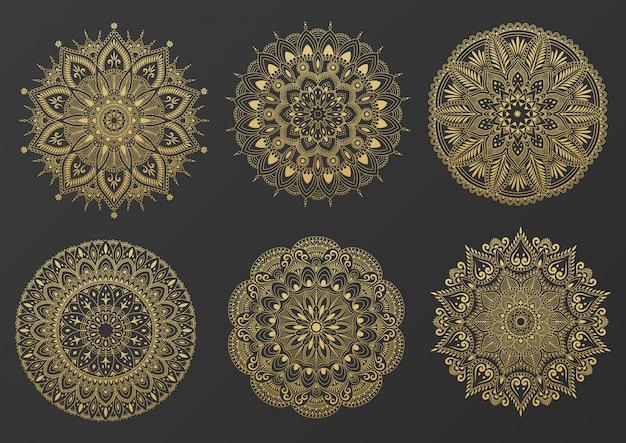 Set of round gold ornament mandala. mandala with floral patterns. yoga template.  illustration