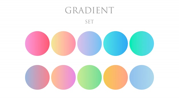 Set round gradient set with modern abstract backgrounds. trendy soft color. template with round gradient