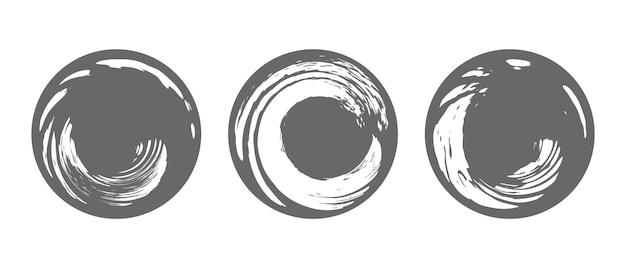 Set of round grunge vector frames hand drawn design vintage and retro elements