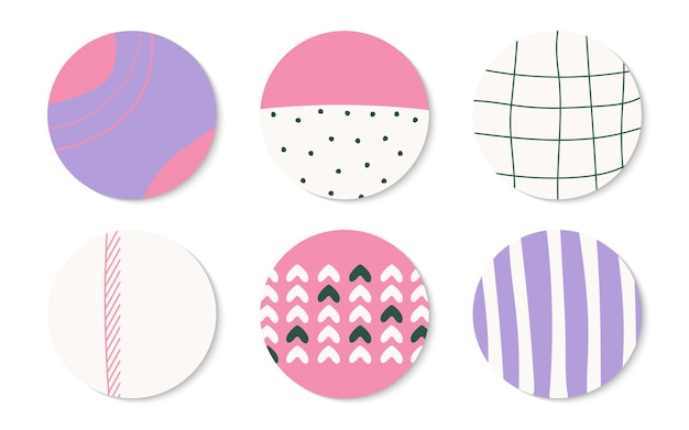 Set of round icon template highlight cover for post stories in social media abstract hand drawn different shapes and textures doodle elements with spots dots lines isolated vector illustration