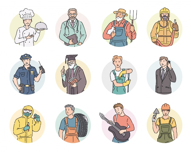 둥근 남자에게 다른 직업을 설정하십시오. 프로 유니폼에 라인 아트 스타일에 노동절 사람들이 그림.