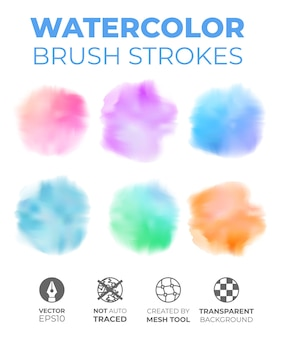 Set of round realistic watercolor brush strokes on an isolated transparent background.